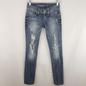 Guess Distressed Daredevil Skinny Jeans Size 23